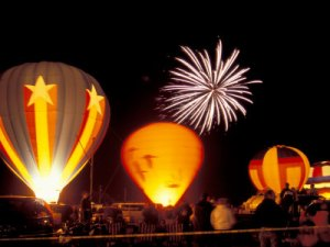 US48BBR0052-FB~Fireworks-During-Night-Glow-Event-30th-Annual-Walla-Walla-Hot-Air-Balloon-Stampede-Washington-USA-Posters